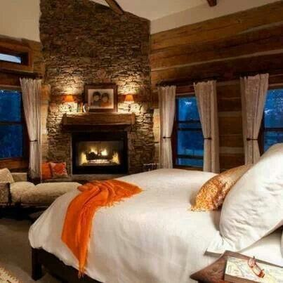 Love A Fireplace In A Master Bedroom! Just Not The Orange Accents  I  Absolutely Love The Idea Of Having Fireplace In My Master Bedroom:)