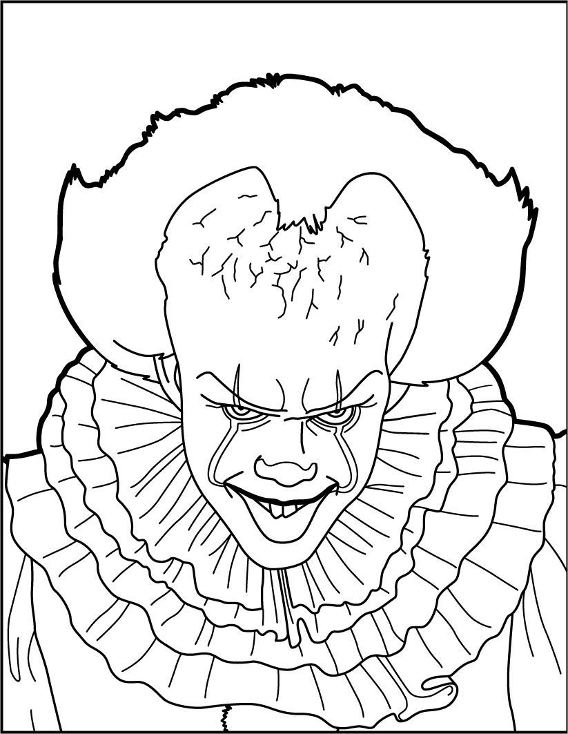Pennywise The Clown Coloring Pages Free Http Www Wallpaperartdesignhd Us Pennywise The Clown Coloring Scary Coloring Pages Scary Drawings Halloween Coloring