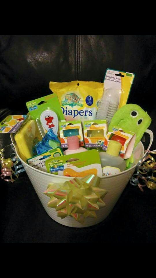 f5dde97f44b9 Baby Shower Gift Basket- Dollar Tree finds | DIY Gifts | Baby shower ...