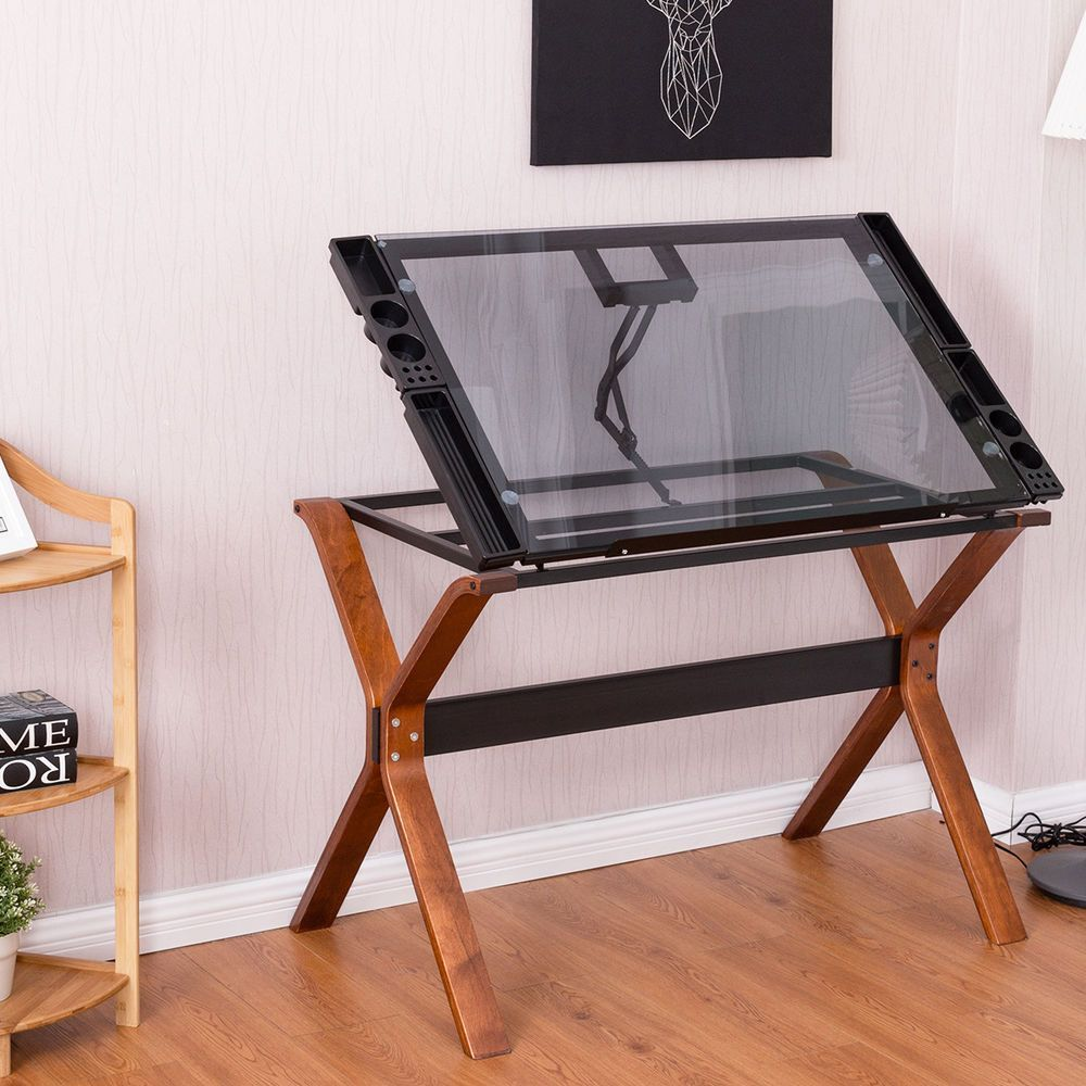 Adjustable Drafting Table Craft Station Drawing Desk Glass Top Art Craft Hobby Ebay Drawing Desk Drafting Table Architects Desk