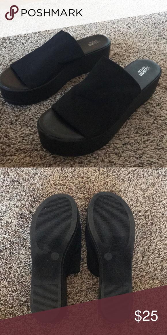 Black Platform Sandals Black stretchy