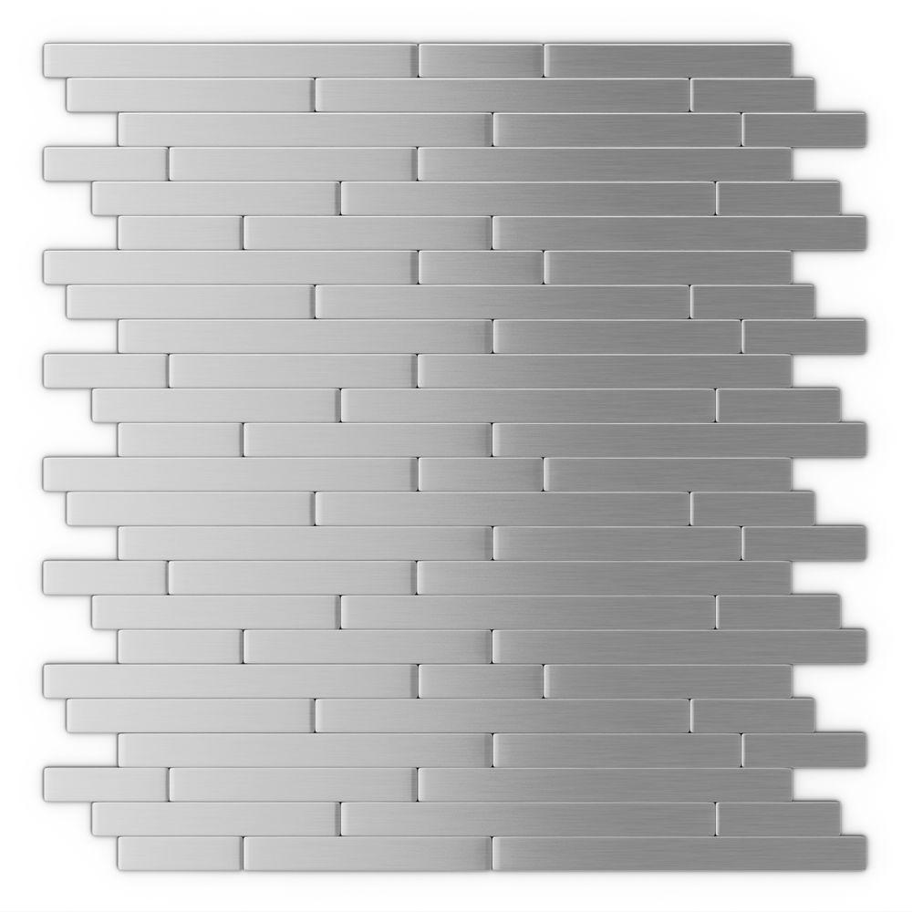 Inoxia Speedtiles Linox Stainless Steel12 09 In X 11 97 In X 5 Mm Brushed Metal Self Adhesive Metallic Wall Tiles Decorative Wall Tiles Stainless Steel Tile