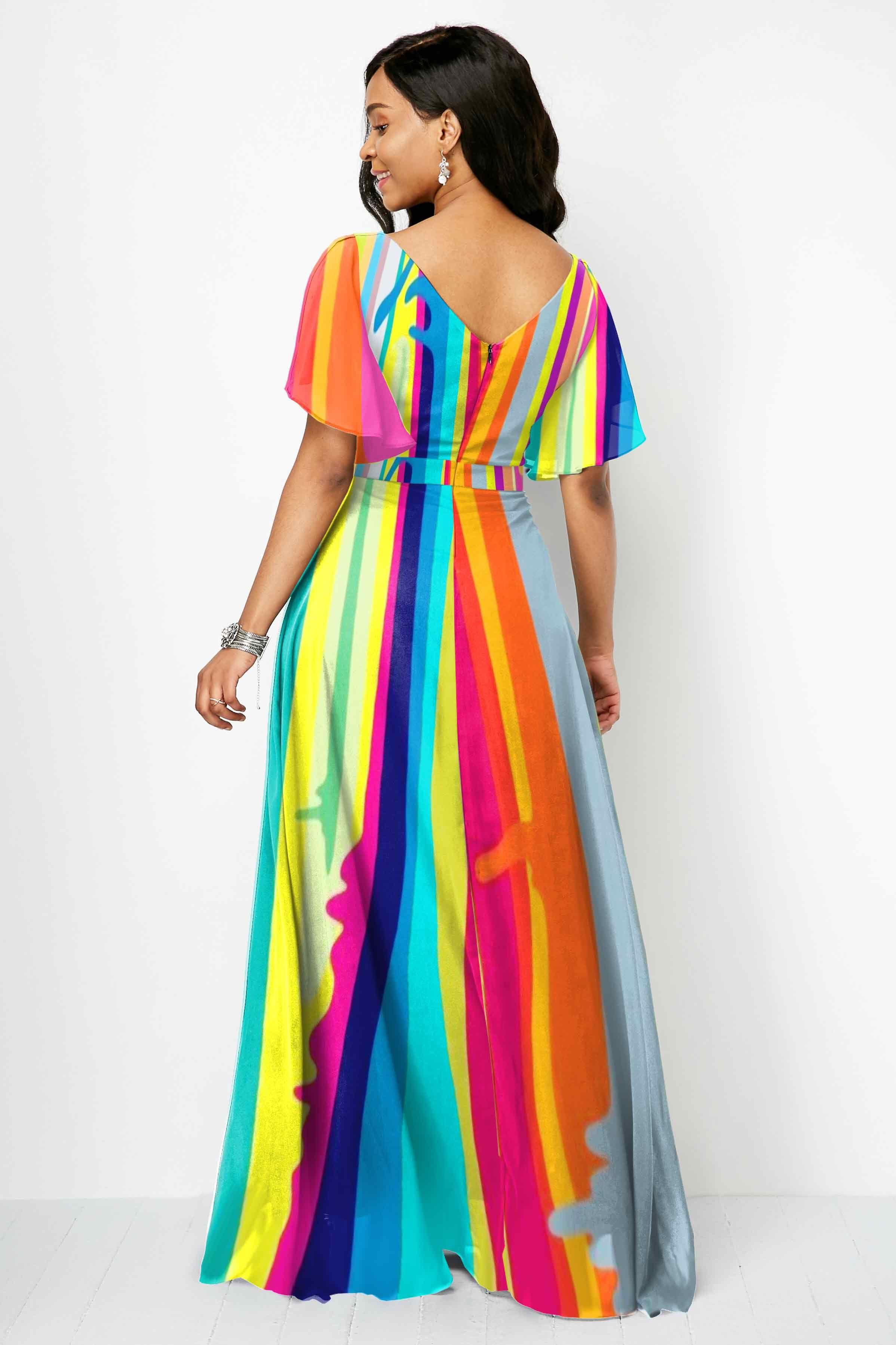 V Neck Multi Color Rainbow Striped Maxi Dress Ad Color Multi Neck Casual Dresses For Women Dresses Rainbow Dress [ 3595 x 2396 Pixel ]