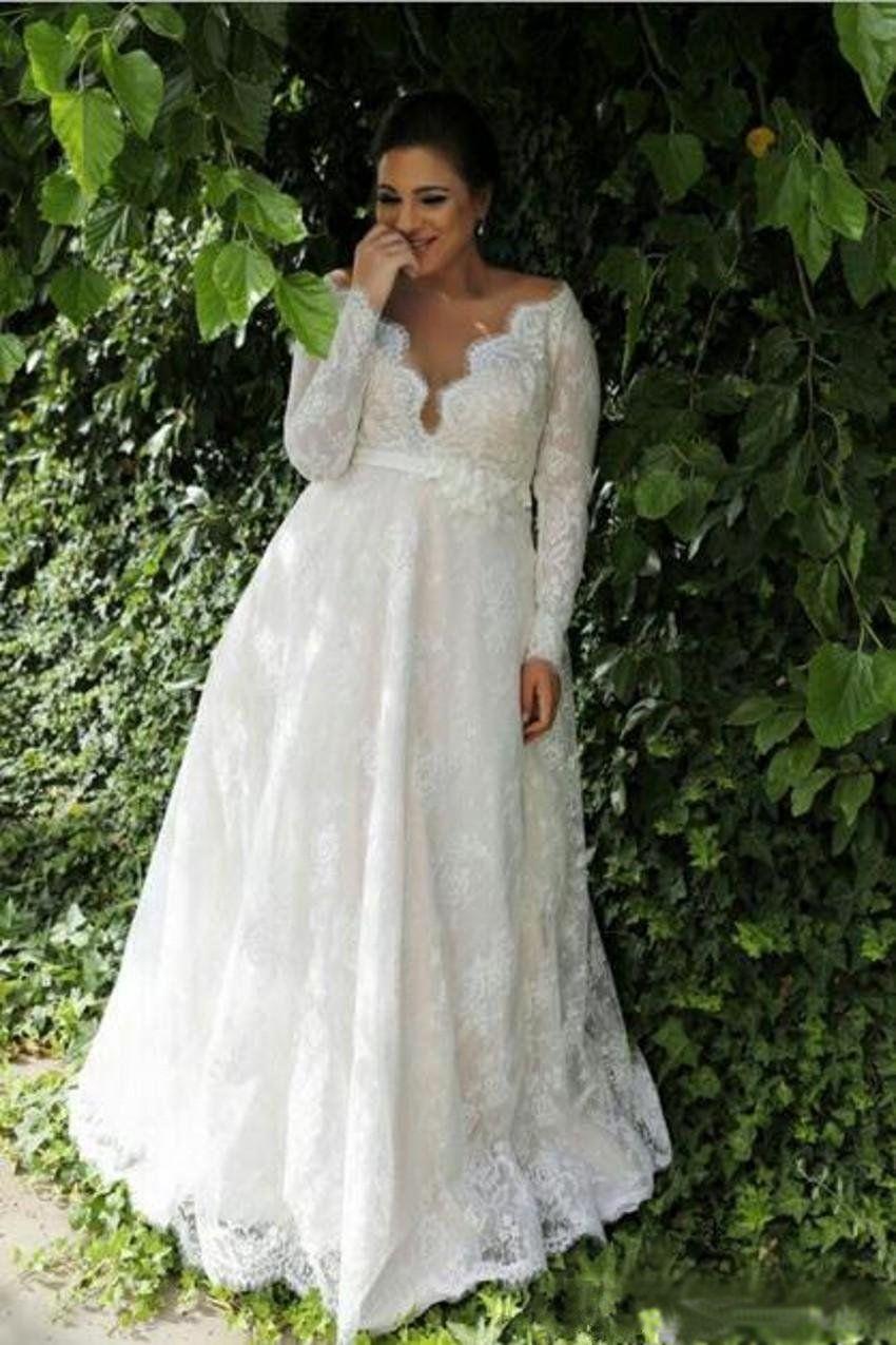 4e54aaf9a88 Style  Modern Trends  Lace Dresses Plus Size Wedding Dresses Long Sleeve  Destination  Garden Fabric  Lace Hemline Train  Floor-Length Neckline  V- Neck ...