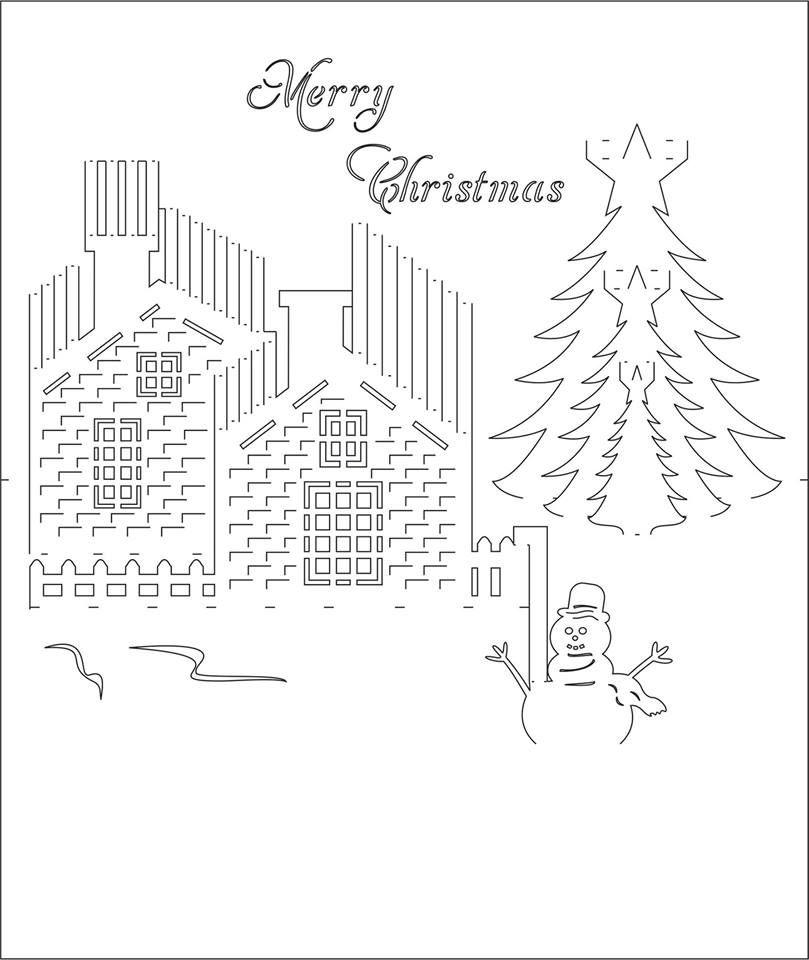 Happy Holidays 3D Pop-Up Card/kirigami pattern 1