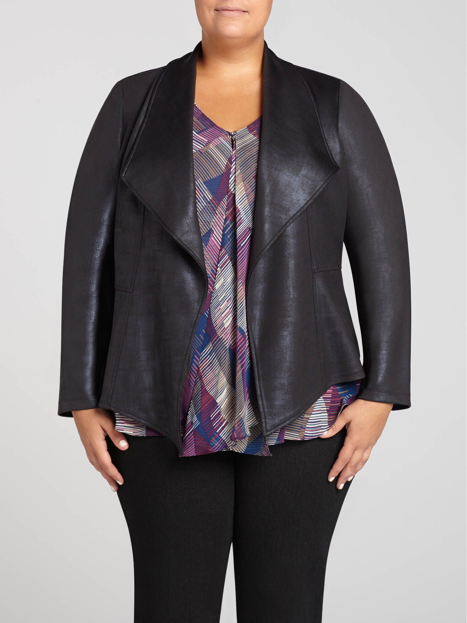 Laura Plus Frank Lyman Distressed Faux Leather Wing
