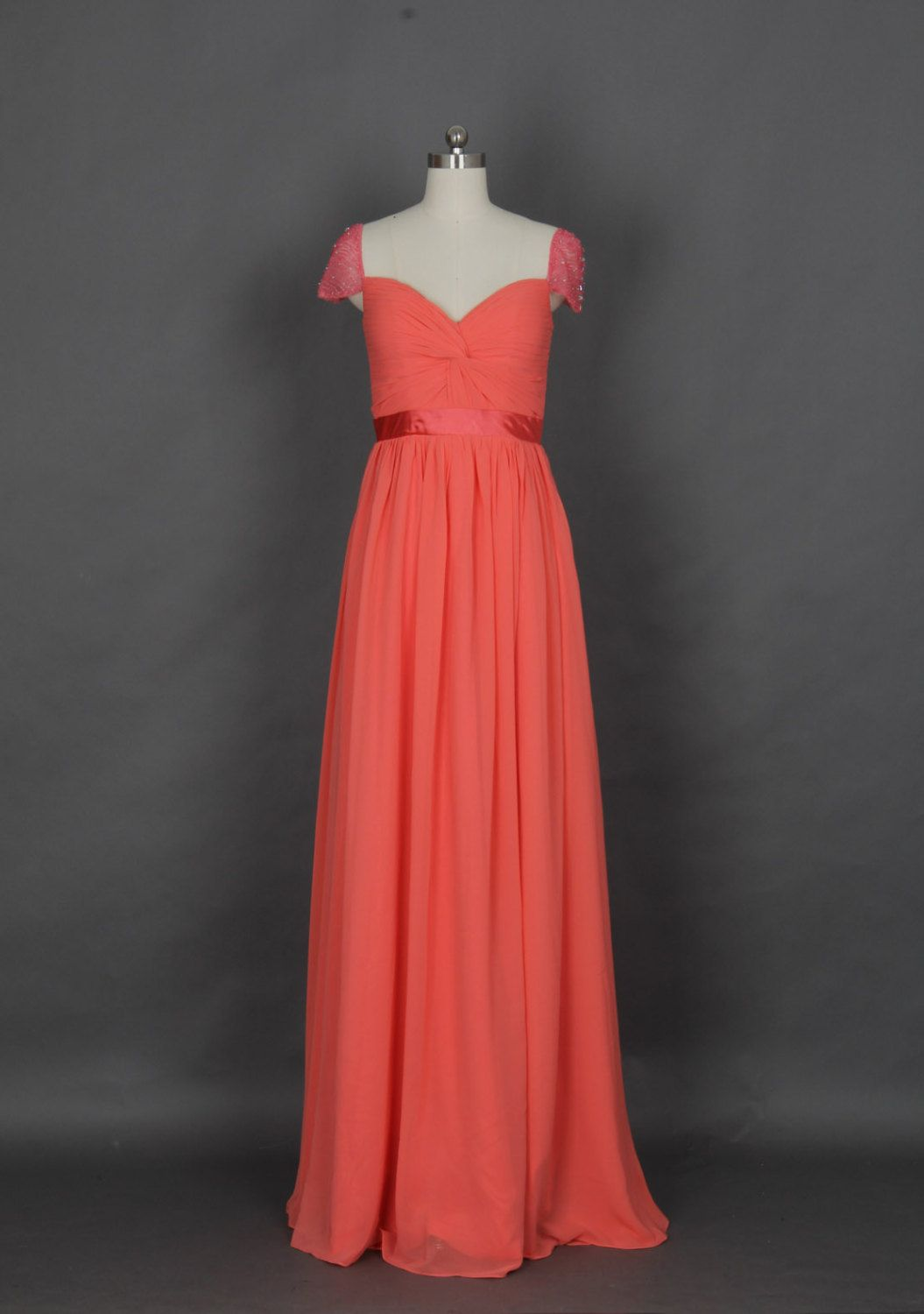 Beaded Cap Sleeves Coral Long Prom Dress, Red Prom Dress. $135.00, via Etsy.