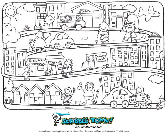 Our Town Coloring Page to go with Crayon Kids Go to Town Story