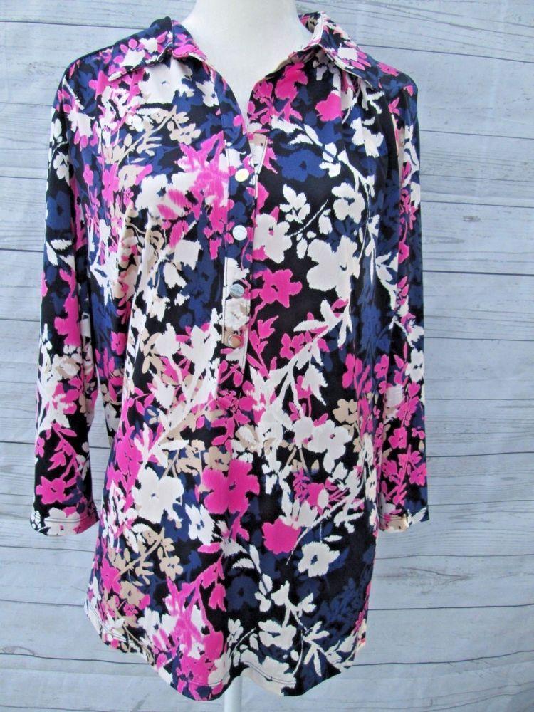 c831736146efde Alfani Womens Plus size 3X Blue Fuschia Floral Print Blouse Button UP Shirt   Alfani  Blouse  CareerCasual