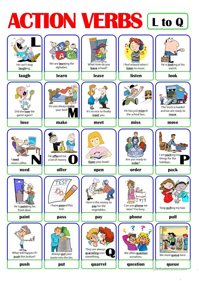 PICTIONARY - ACTION VERB SET (3) - from L to Q worksheet - Free