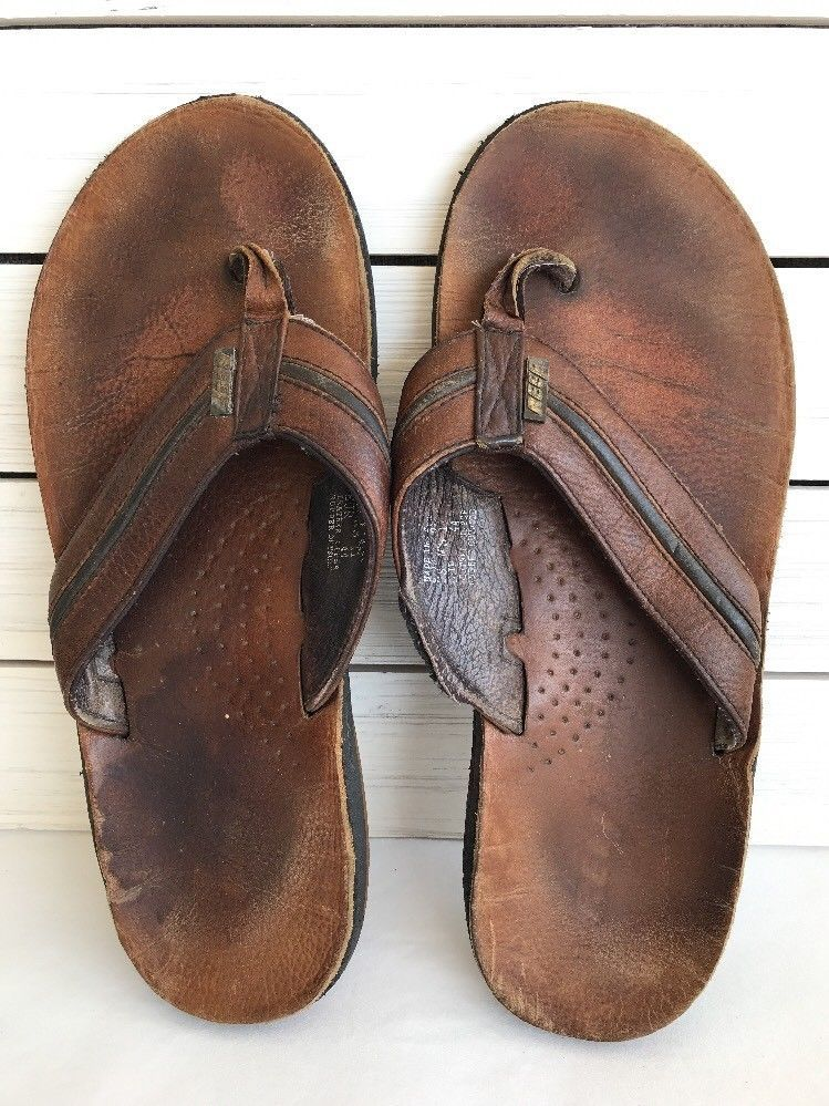 dc3f890293ba Mens Reef Thong Sandals Flip Flops 11 Leather Brown Shoes Bottle Cap  Reef   FlipFlops