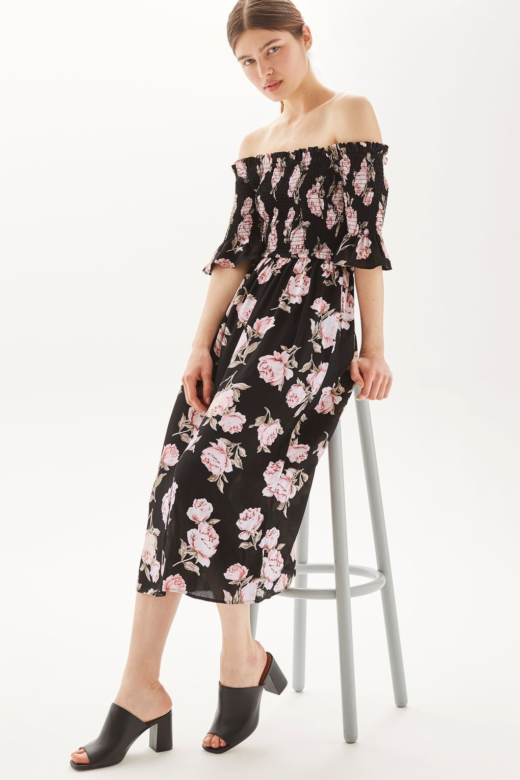 f1c96813dc19b Go girl in this adorable floral print bardot midi dress. We love the  off-the-shoulder fit