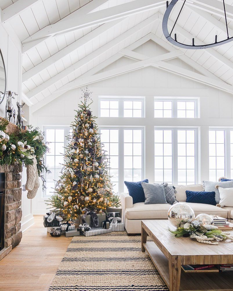 Lake House Spring Decor Vaulted Ceiling Living Room Decor