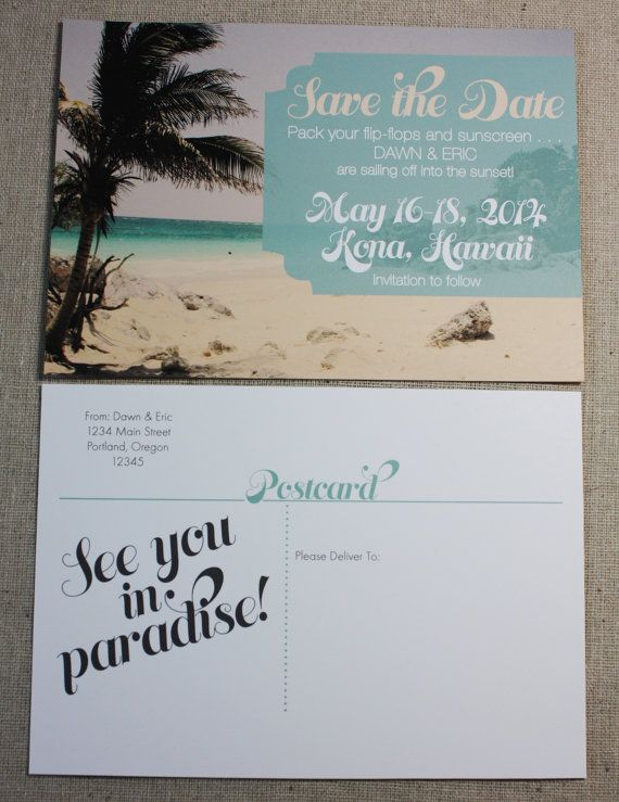 Tropical Beach Destination Wedding Save The Date By Greenquince