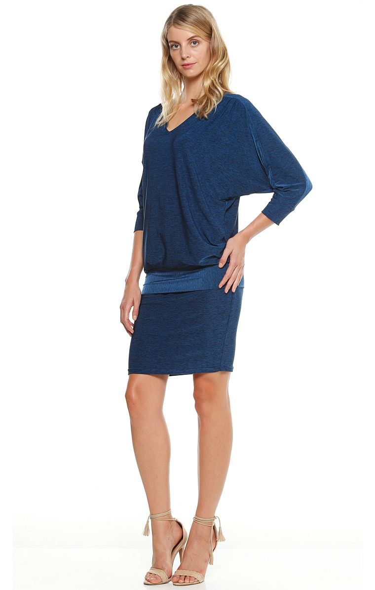 80a5b4d3327 TAORMINA 3 4 SLEEVE REVERSIBLE STRETCH JERSEY BATWING DRESS IN INDIGO MARLE