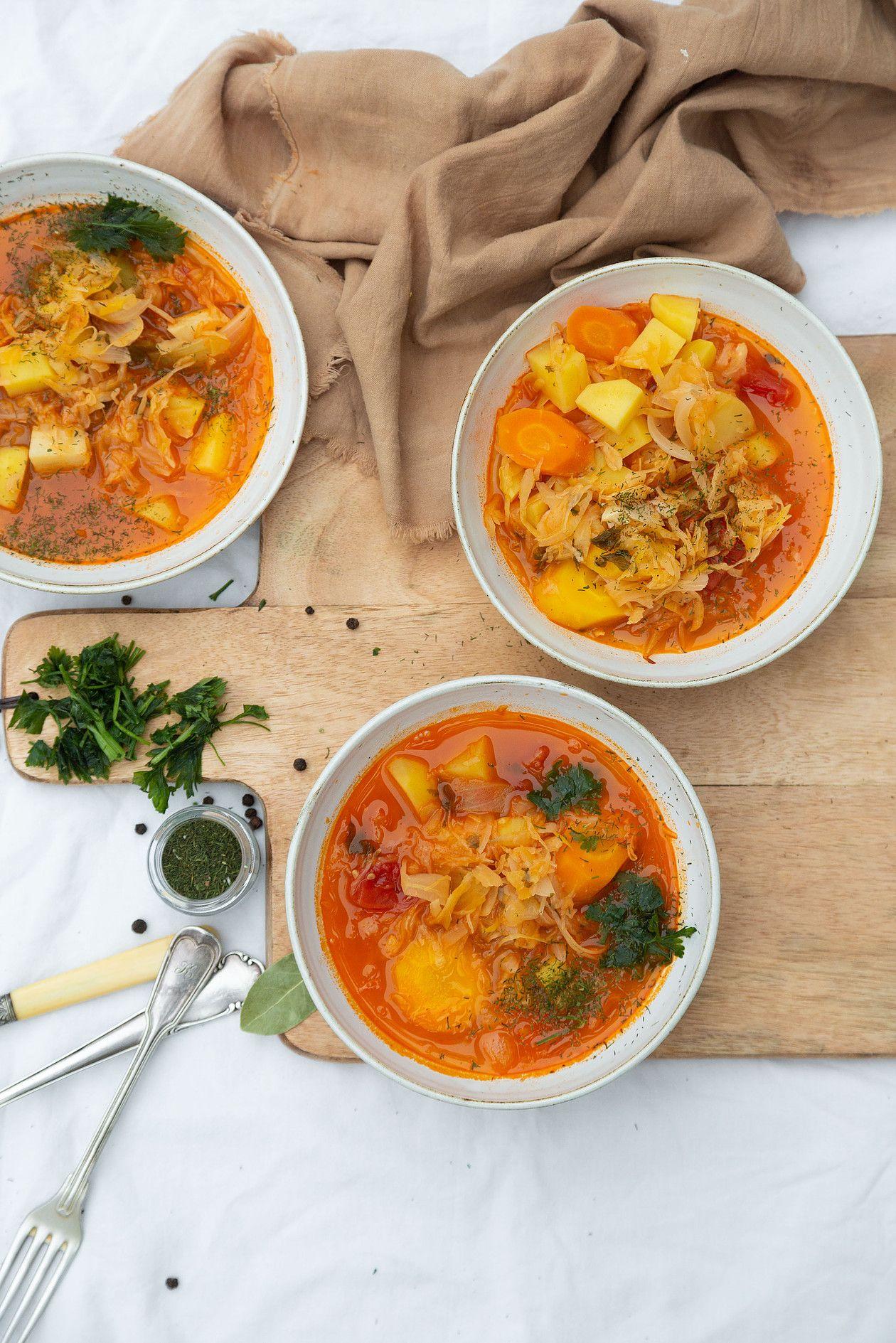 Polnische Sauerkraut Suppe Vegan Vegane Rezepte Sauerkrautsuppe Vegetarische Rezepte