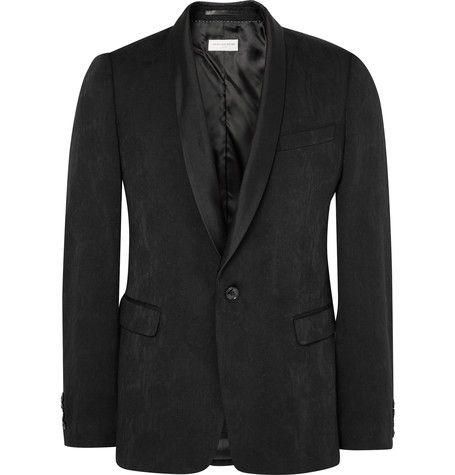 DRIES VAN NOTEN Black Slim-Fit Wool-Blend Jacquard Tuxedo Jacket. #driesvannoten #cloth #tuxedos