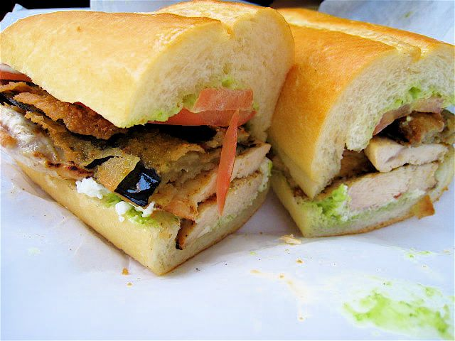 Chicken Eggplant Sandwhich With Garlic Sauce From Le Diplomate Cafe In The University Center Across From Uci Univers Vietnamese Sandwich Chicken Eggplant Food