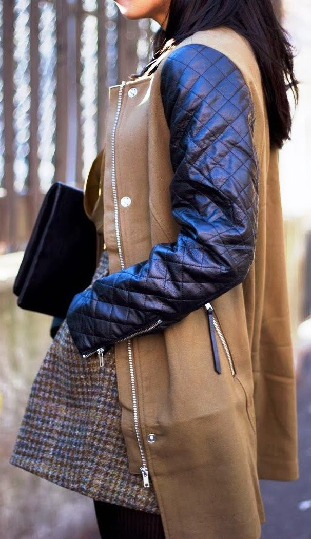 Warm Coat with Quilted Sleeves