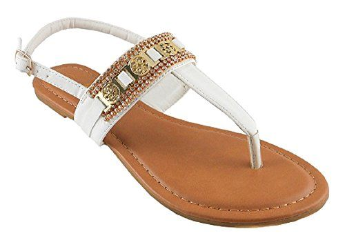 4300f78a043cbc Iynx Cedar1 White 9 Rhinestone Embellished Tstrap Flip Flop Thong Sandals  Flats Strappy     Want additional info  Click on the image.