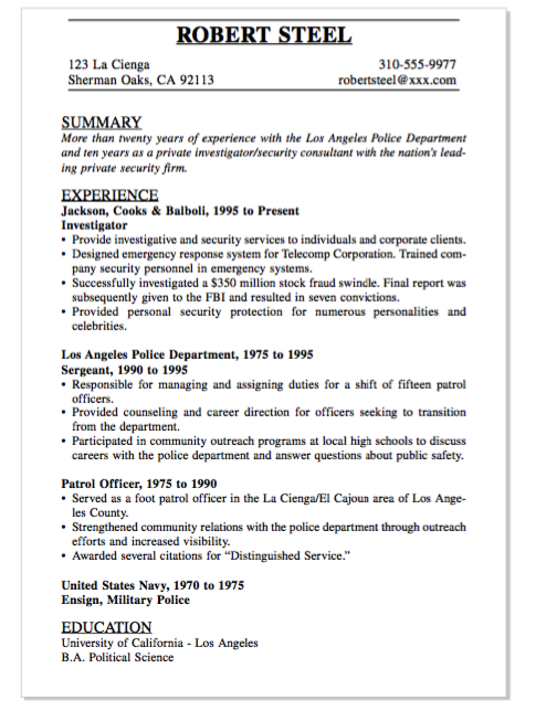 Example Of Patrol Officer Resume Examples Resume Cv