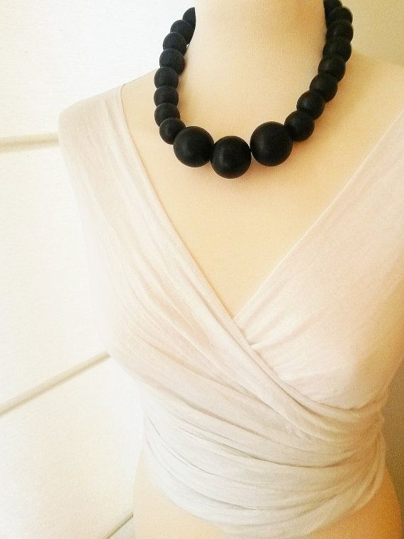 Chunky wooden necklaceBlack wooden chunky by Karavakishop on Etsy
