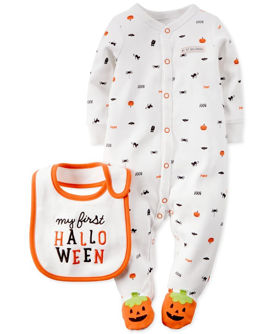 bf11018f2368 Carter s Baby Boys  or Baby Girls  First Halloween Coverall   Bib ...