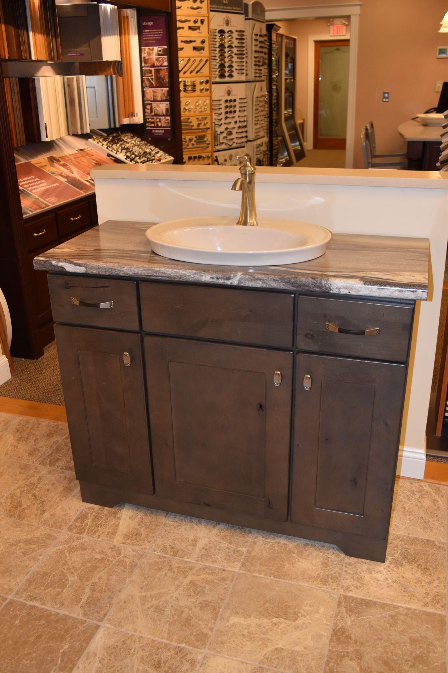 Kraftmaid Putnam Alder Vanity Cabinet In Distressed Canon Gray Kitchen Cabinets In Bathroom Kitchen And Bath Showroom Kitchen Bathroom Remodel