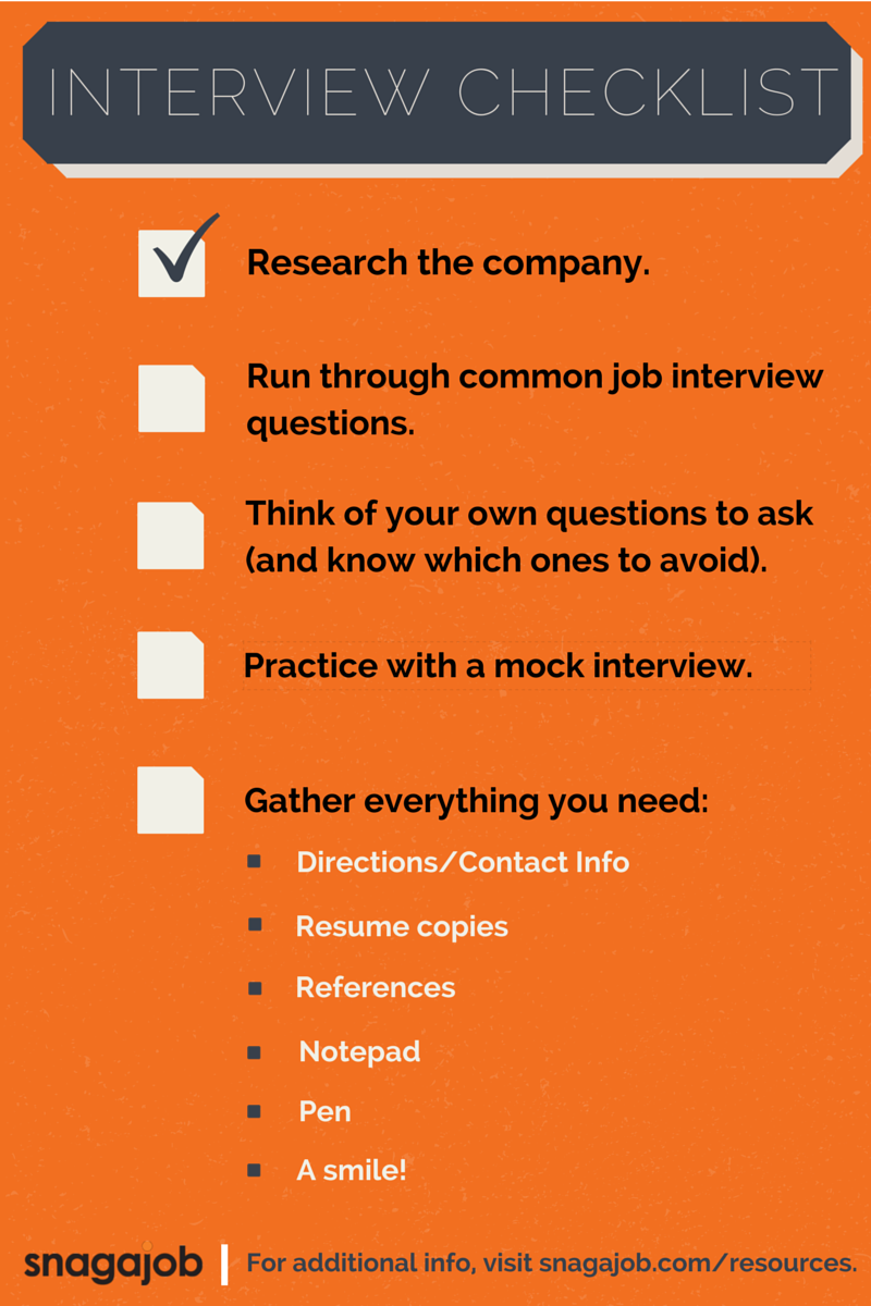 job interview checklist  prepare to ace your next
