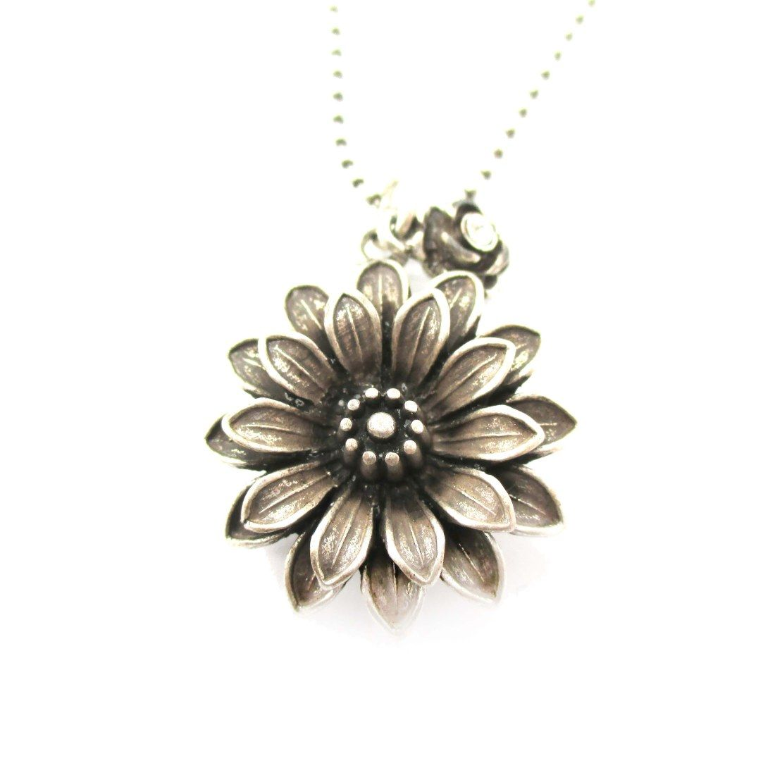 Realistic Dahlia Flower With Pointed Petals Floral Pendant Necklace In Silver From Dotoly Animal Jewelry Floral Pendant Necklace Floral Pendant Pendant Necklace