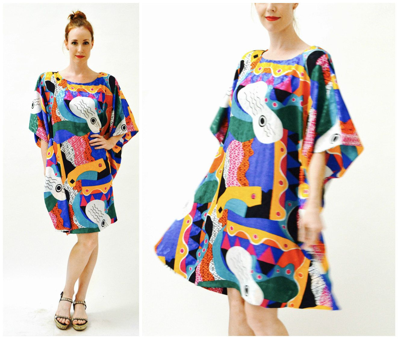 6dd0aa69b046 80s Vintage Abstract Print Dress Caftan Kaftan Beach Cover Up with Guitar  Music Bold Print Large Pink Blue Yellow Orange by Hookedonhoney on Etsy