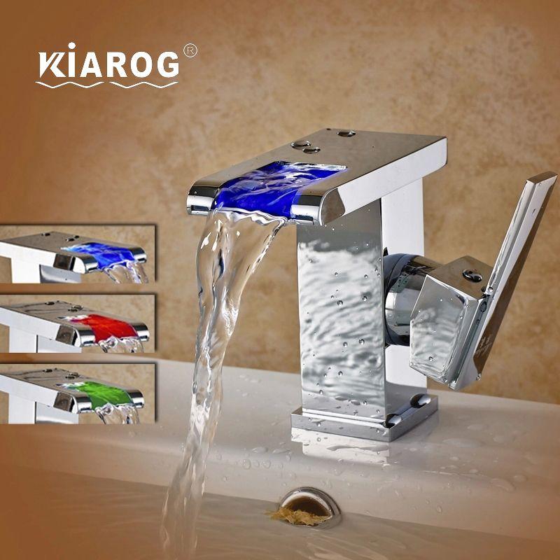 KiaRog 3 Colors Led Faucet. Bathroom Led Waterfall Faucet. 3 Colors ...