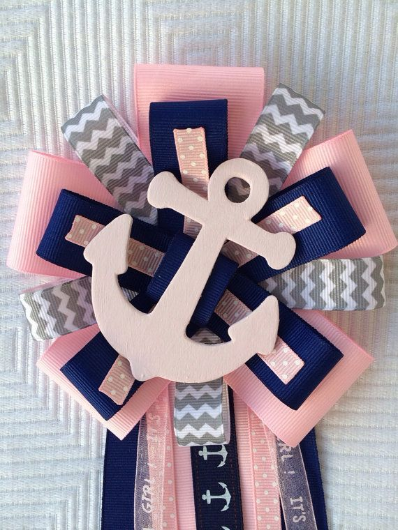 Baby Shower Corsages, Baby Shower Themes, Shower Ideas, Pink Baby Showers,  Anchor Centerpiece, Decoration, Sailing, Nautical, Victoria