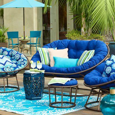 Papasan Outdoor Double Chair Frame Mocha