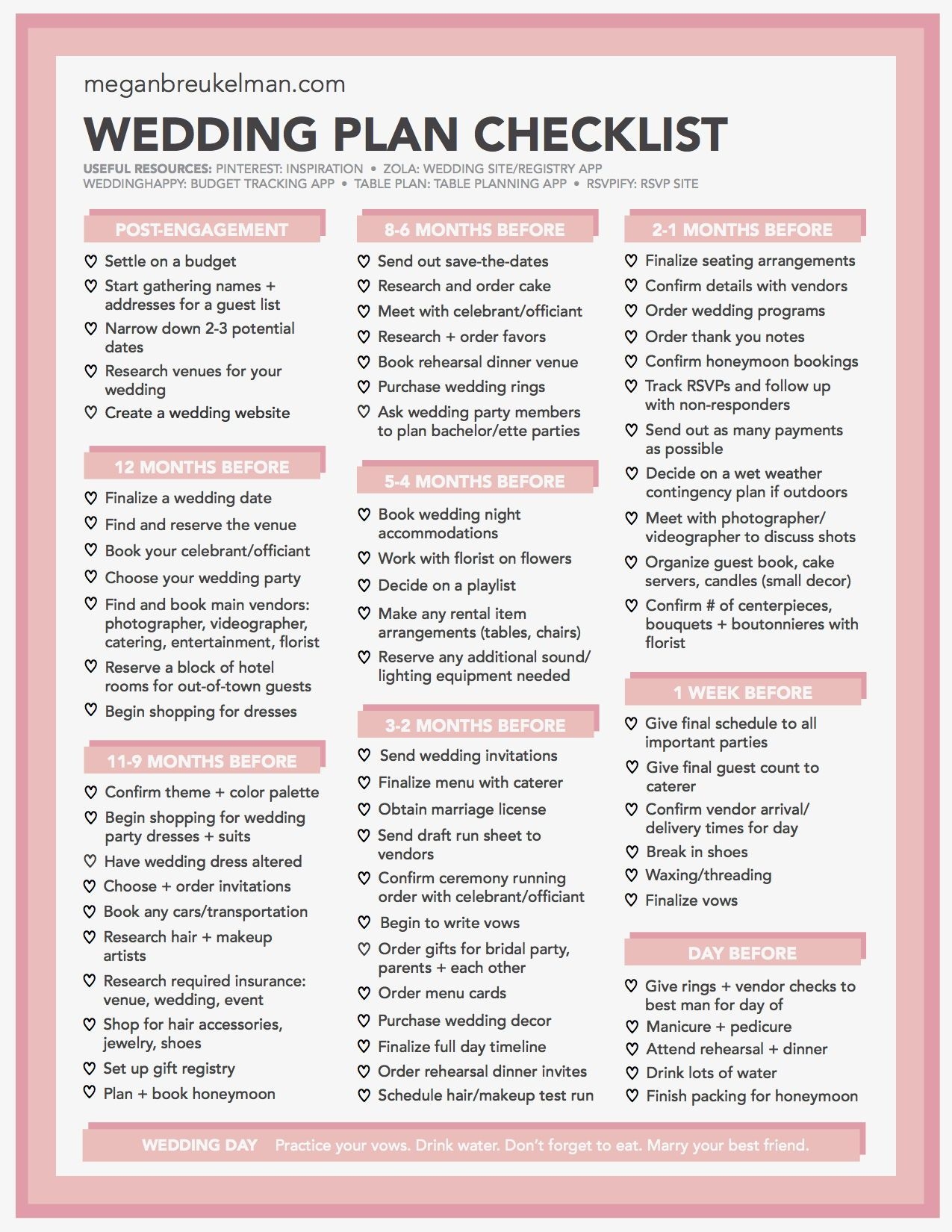 Wedding Countdown Checklist Free Printable Wedding