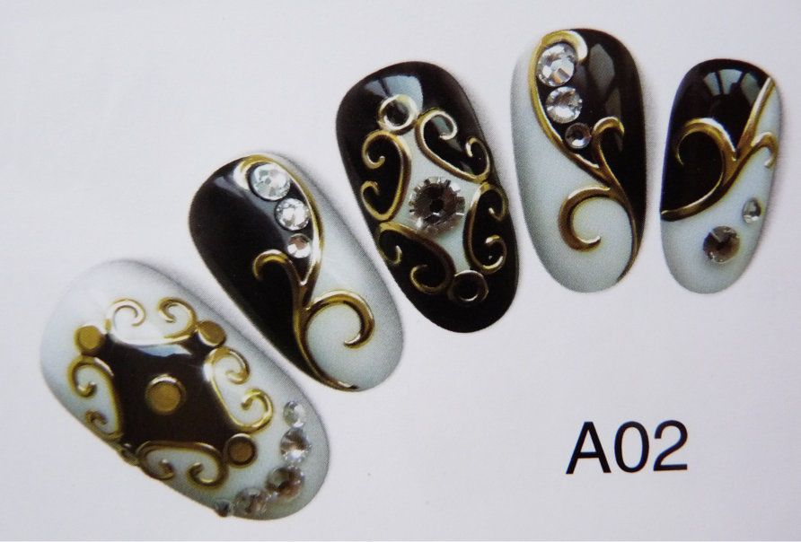 Details zu 3D Metallic Nail Art Sticker Tattoo Herz Stern Ornament ...