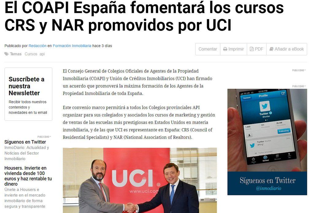 El COAPI España fomentará los cursos CRS y NAR promovidos por UCI