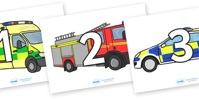 twinkl resources numbers 0 31 on emergency vehicles classroom printables for pre school. Black Bedroom Furniture Sets. Home Design Ideas
