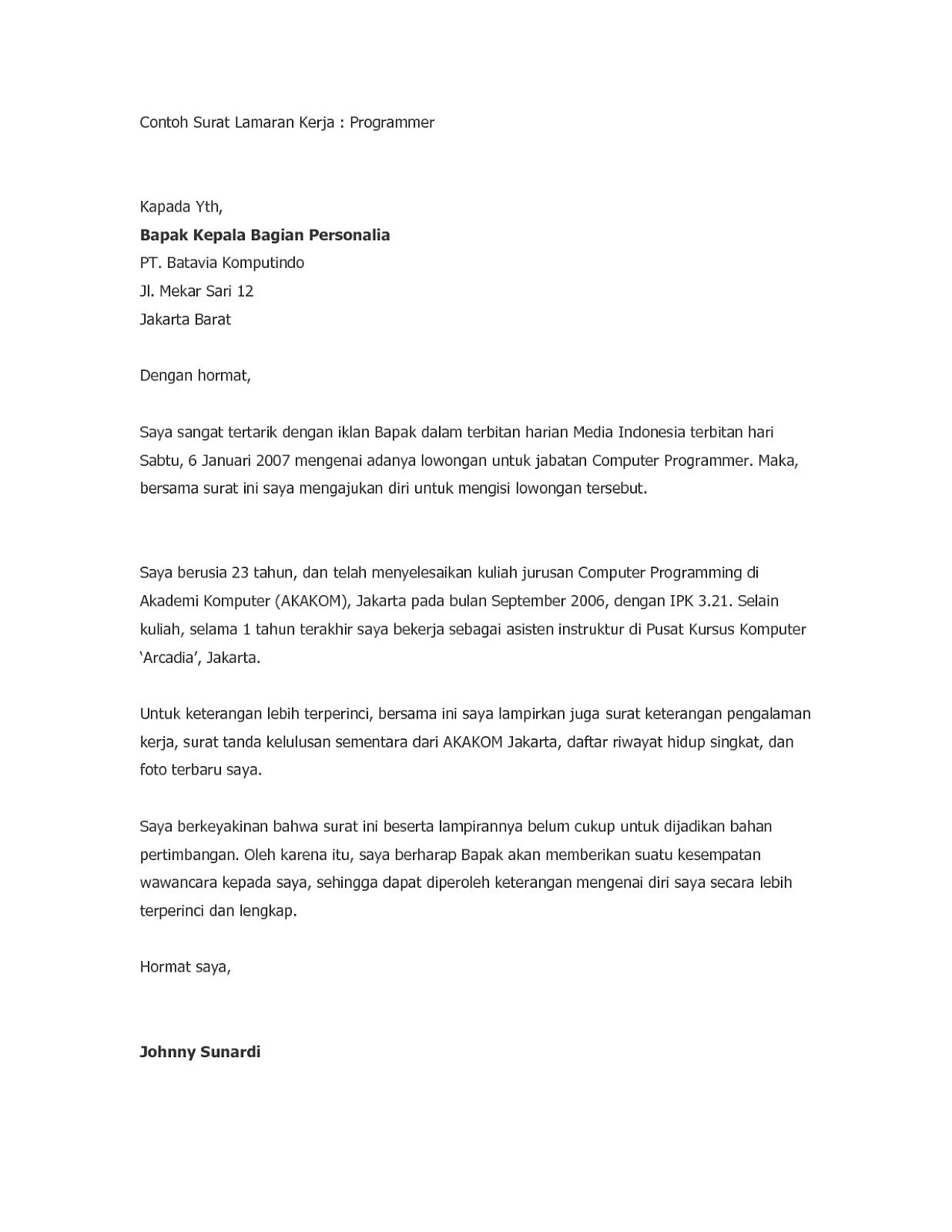 Contoh Surat Lamaran Kerja Fresh Graduate 3 Tulisan