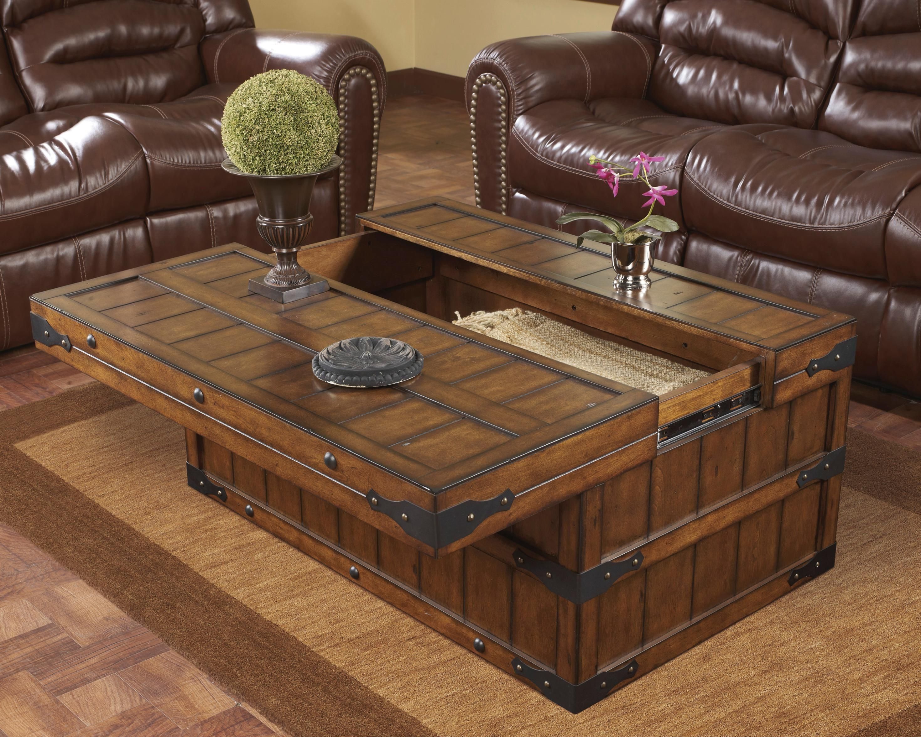 Rustic Storage Trunk Coffee Table With