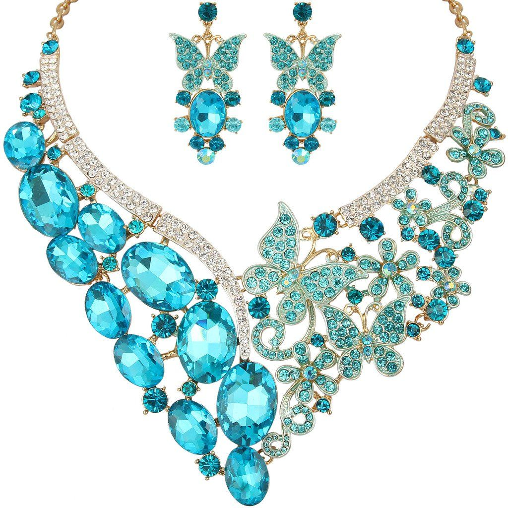 YT261 Clear Rhinestone Crystal Earrings Necklace Set Bridal Party Gift