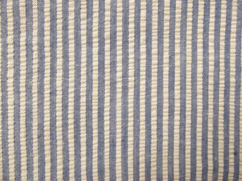 1930s 40s 50s Navy Blue and Ivory Horizontal Seersucker Fabric ...