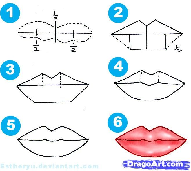 Anime Step By Step Drawing Mouth How To Draw Females Step By Step Figures People Free Online Lips Drawing Mouth Drawing Drawing Tutorial