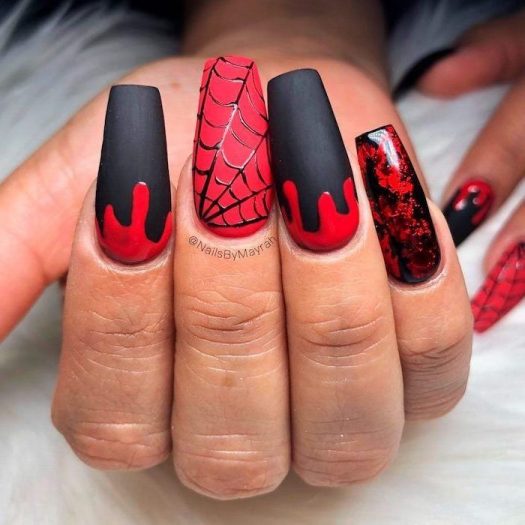 Black And Red Matte Nail Polish Halloween Nail Ideas Spider Web Decorations Dripping Red Nail In 2020 Halloween Acrylic Nails Black Acrylic Nails Black Halloween Nails