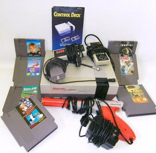 Old school Nintendo syster with Duck Hunt, Tetris, and Mario Bros...still have this at my parents house