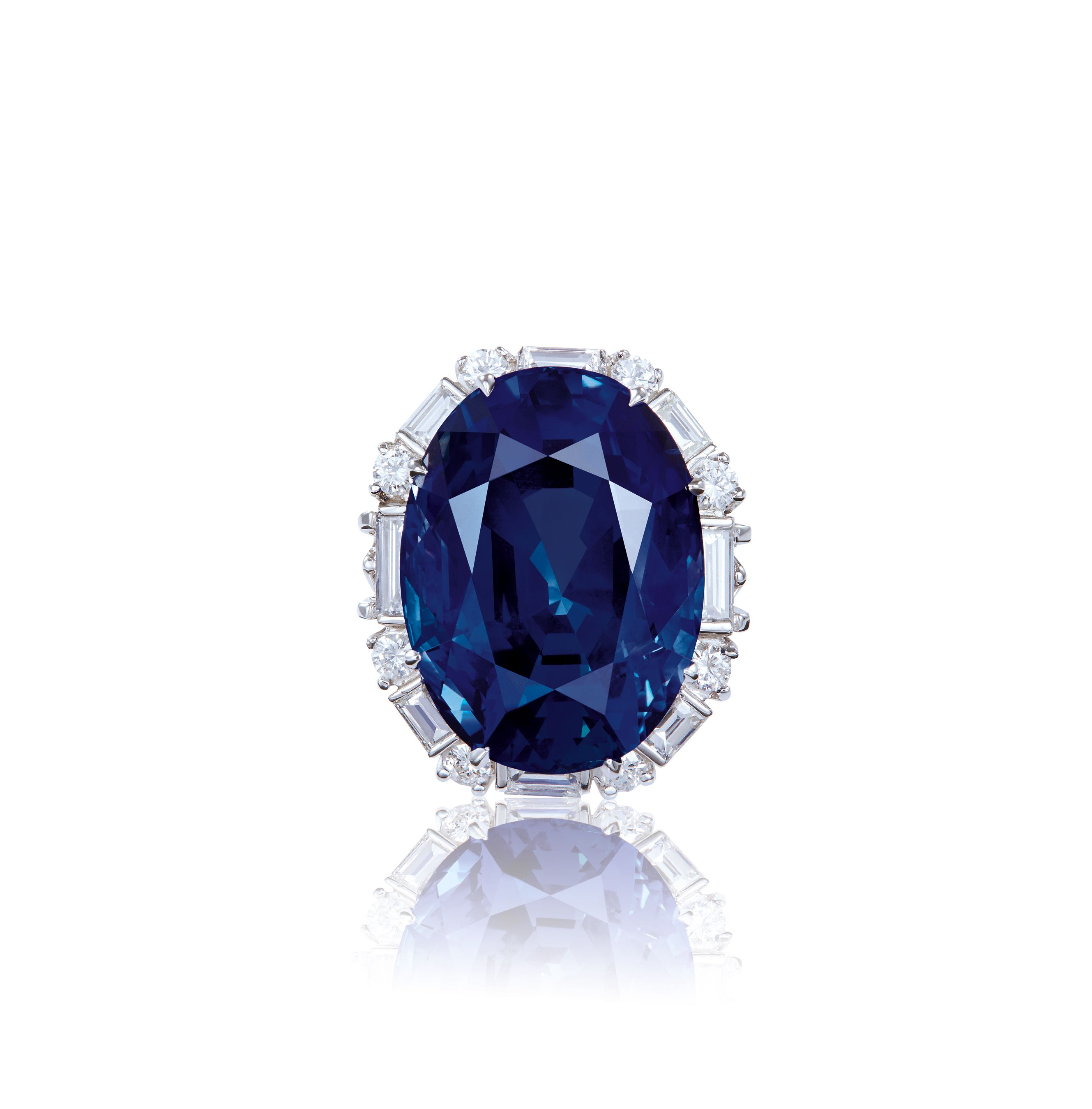 and by ring diamond stepped bordered baguette pin trombino the cabochon sapphire bulgari