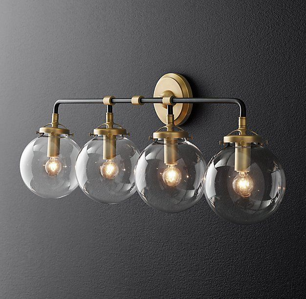 Rh Modern S Bistro Globe Bath Sconce 4 Light Inspired By 1940s Ism Our Lines And Spheres Are Reminiscent Of An Urban Subw