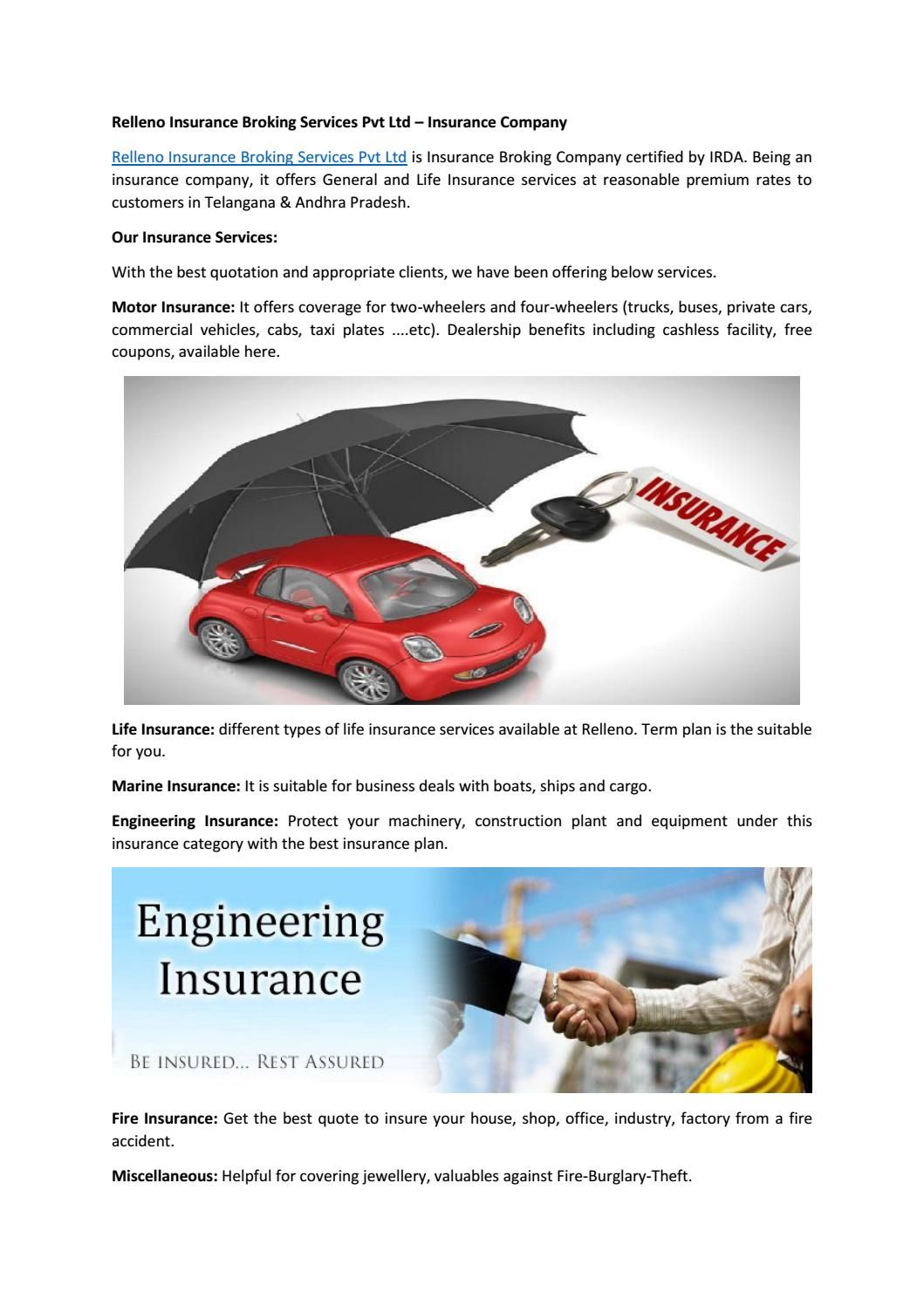 Relleno Insurance Broking Services Pvt Ltd Insurance Company