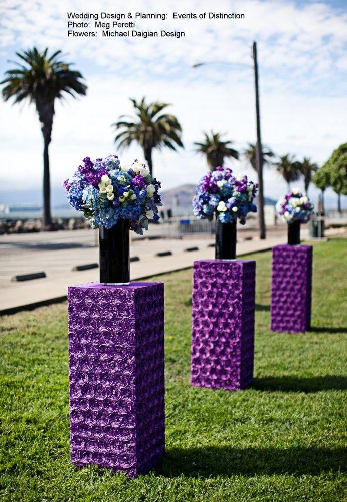 Purple Floral Structures for Ceremony  http://www.eventsofdistinction.com