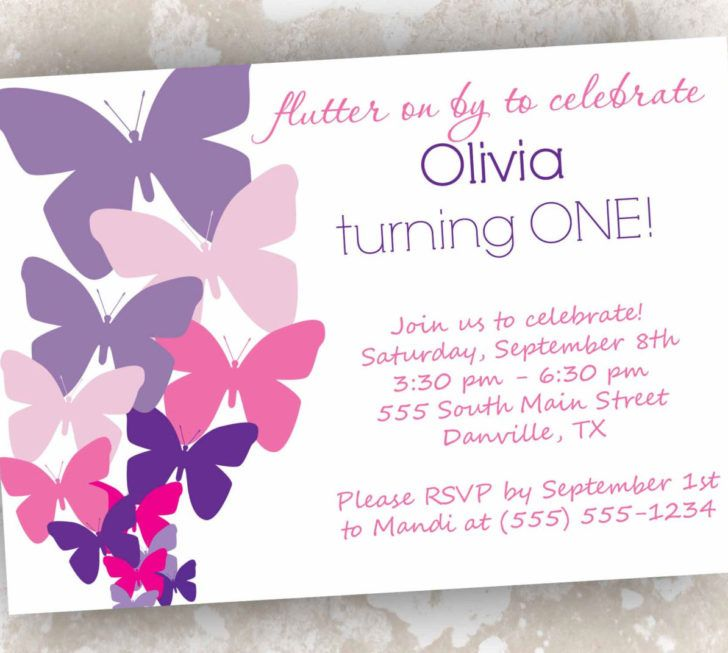 Captivating Butterfly Baby Shower Invitation Template Design Purple And Pink Wording Text